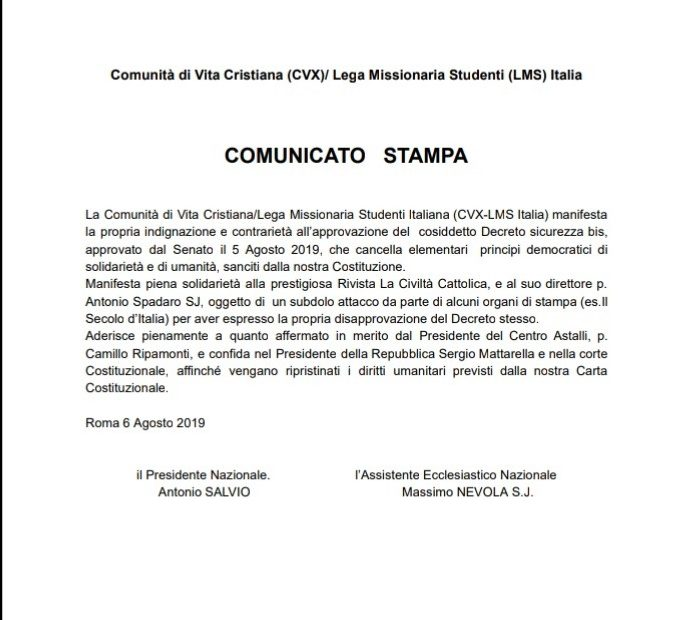 Comunicato stampa Cvx Sms Italia in riferimento a Decreto Sicurezza bis del 5 agosto 2019