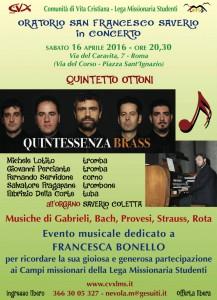 Concerto Roma 16 aprile in memoria di Francesca Bonello