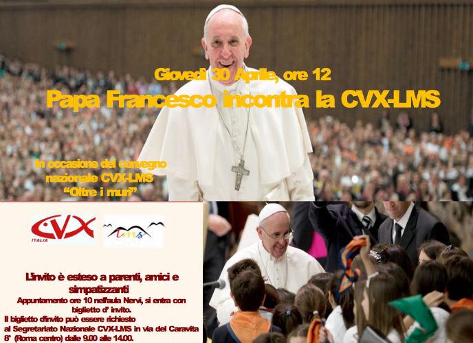 Papa Francesco incontra la Cvx Lms a Roma il 30 aprile 2015