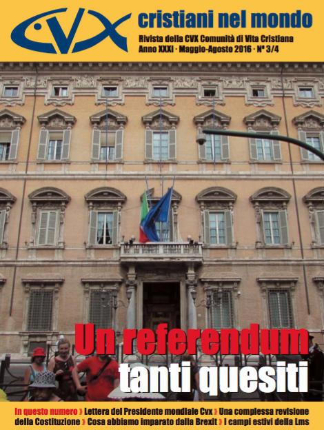 Referendum costituzionale 2016 | copertina Cristiani nel mondo 2-2016